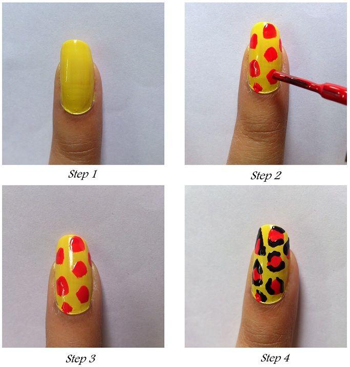 Uñas de animal print en amarillo y rojo - http://xn--decorandouas ...