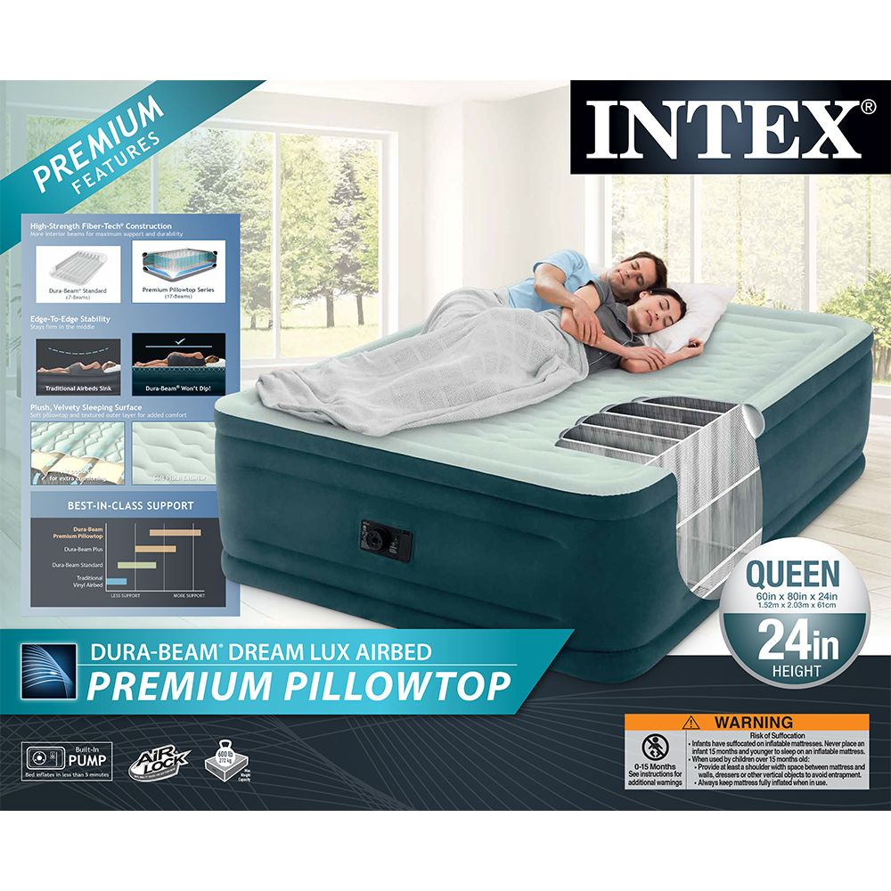 Intex Queen 24 Dream Lux Premium Pillowtop Airbed Mattress With Built In Pump Dream Lux Intex With Images Air Bed Intex Mattress