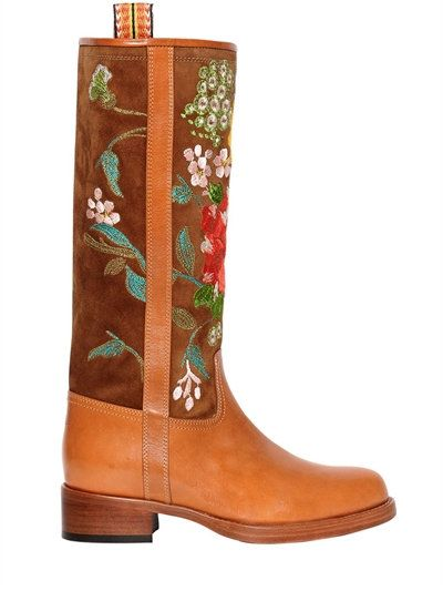 ETRO 30Mm Embroidered Suede & Leather Boots, Camel. #etro #shoes #boots