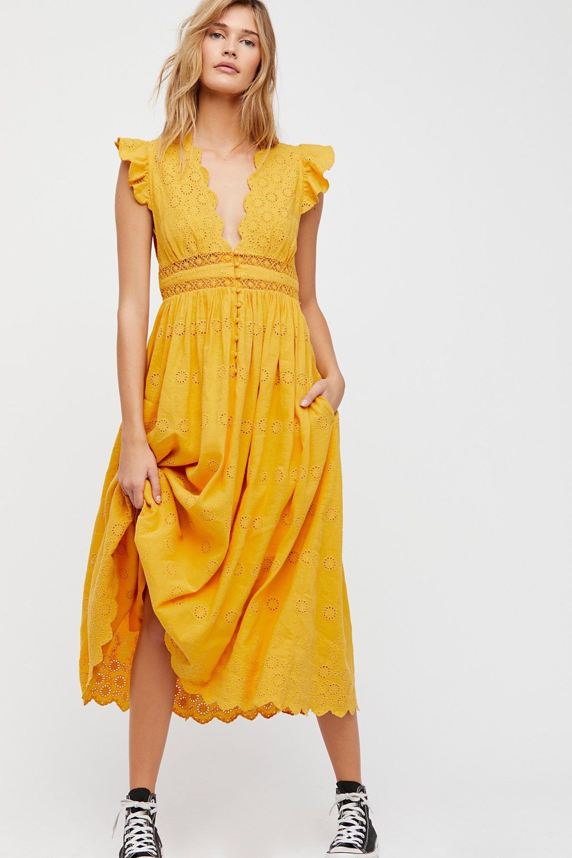 Peach Pie Midi Dress | Free People | The Dress List | Pinterest