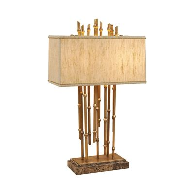 Antique Finished Brass Table Lamp, Bamboo Motif, Emperadora Stone Base, Silk Shade