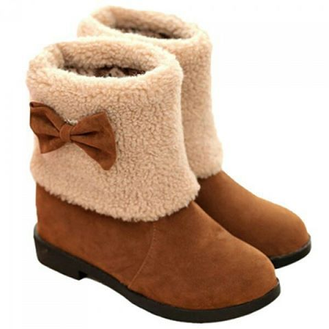 """Sweet Plush and Bow Design Women's Suede Snow Boots. Colors: Brown. Size: 34. SKU: 4YB2UTRTG01 Price: US$54.46 