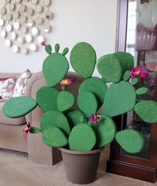 Make A Faux Flowering Cactus TOO Cute Hometalk DIY Pinterest