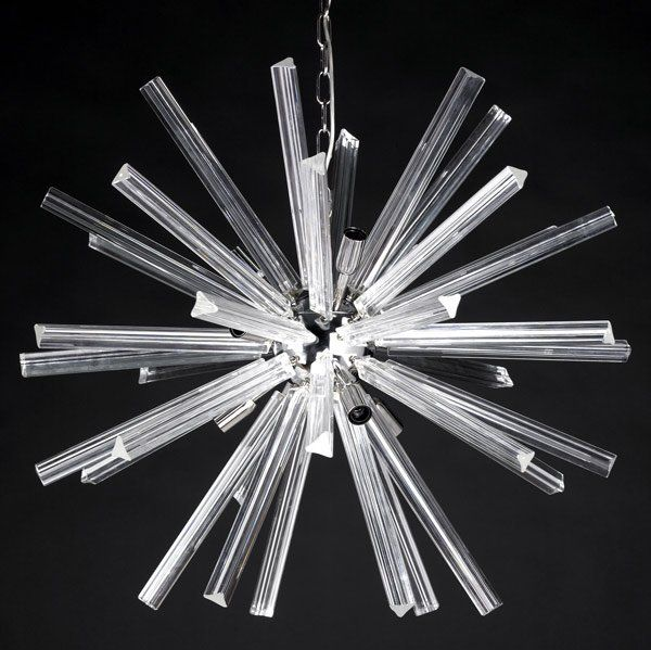 Anonymous; Chromed Metal and Glass Ceiling Light by Camer Crystal, c1960.