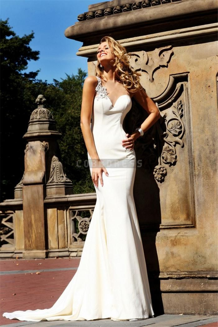 Bateau Brush Train Trumpet Satin Natural Waist Wedding Dress