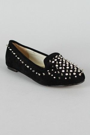 Embellished Spike Loafer Flat