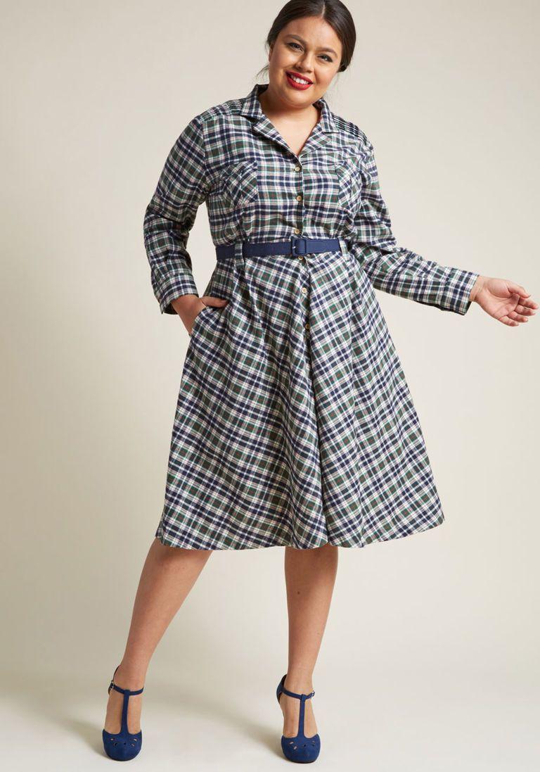Flannel shirt plus size  Flannel Fit and Flare Shirt Dress  Dream Closet  Pinterest