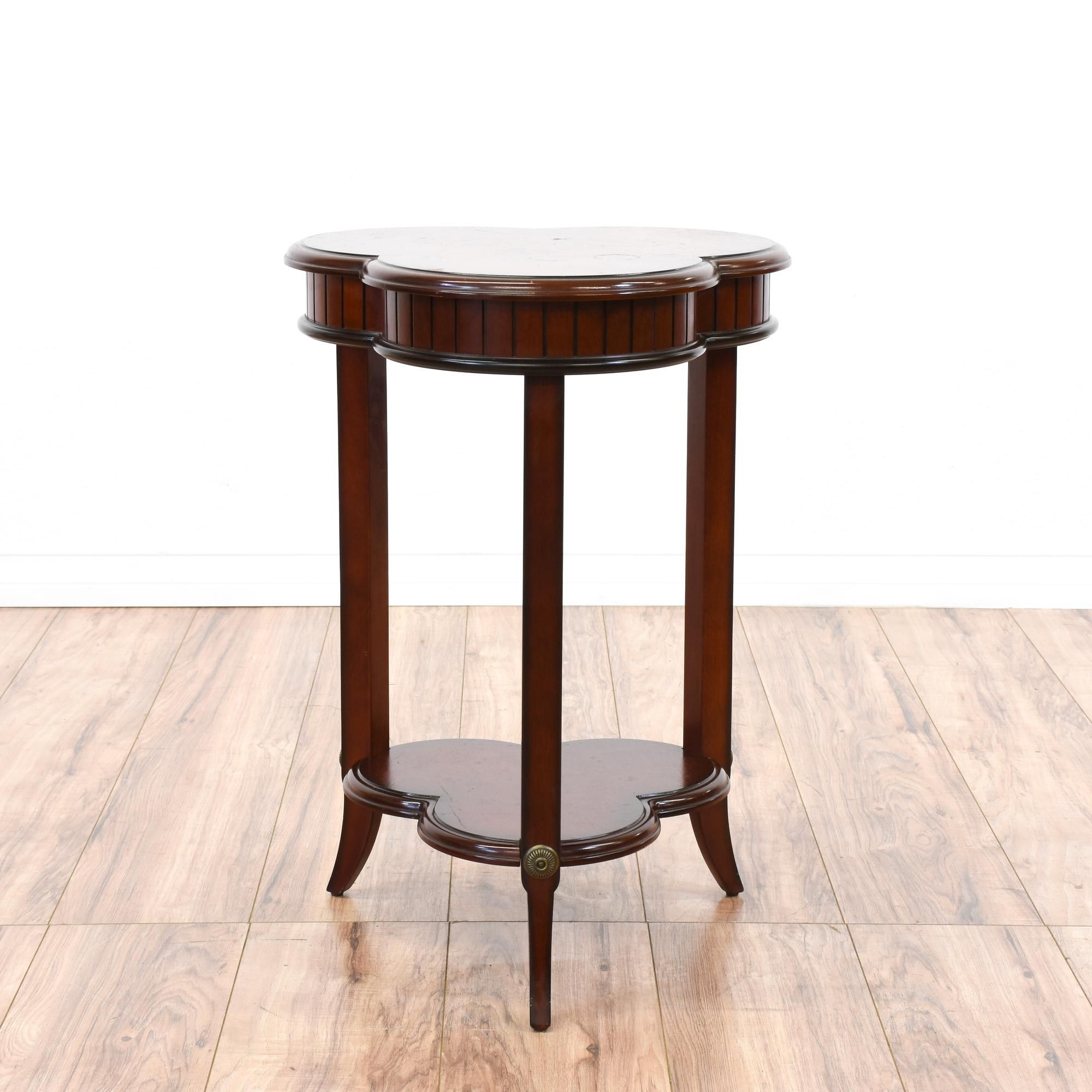 Furniture Legs San Diego burl wood 3 leaf clover tiered end table | leaf clover, furniture