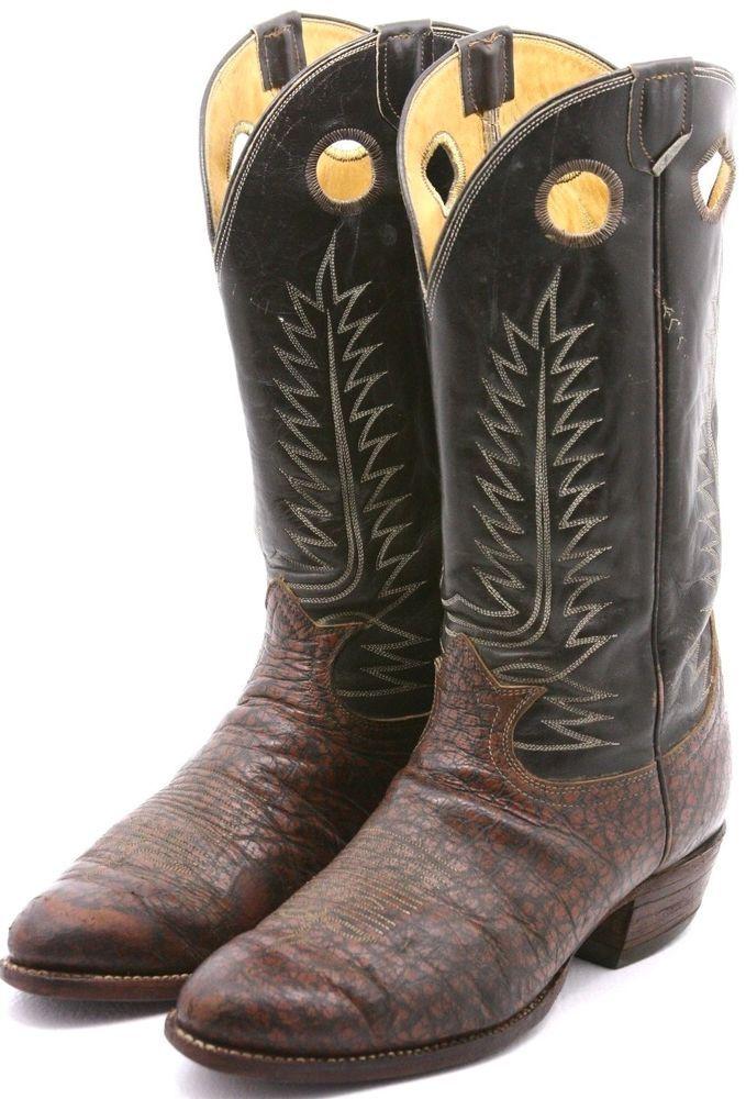 ba69a4e80be Tony Lama Black Label Mens Cowboy Boots 12 D Brown Leather Buckaroo ...