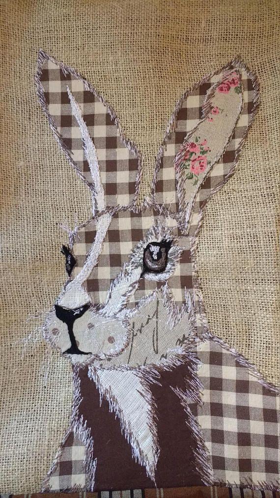 Patchwork machine embroidered hare/rabbit cushion   Fabric Art ...