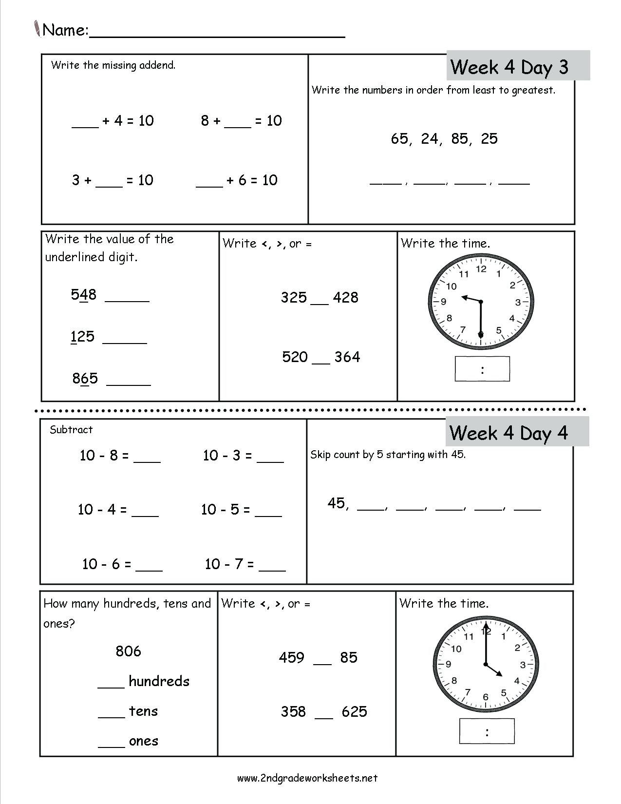 4 Free Math Worksheets Second Grade 2 Subtraction
