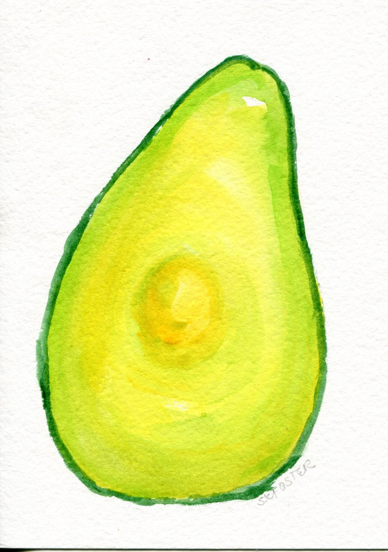 Avocado watercolor painting original, kitchen decor, fruit wall art ...