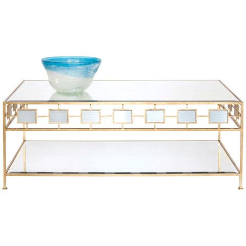 Worlds Away 2 Tier Gold Leaf Coffee Table FEDERICO G – Benjamin Rugs & Furniture