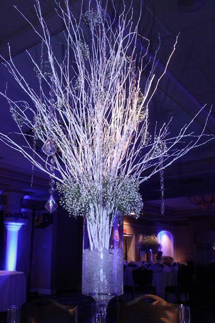 A White Christmas Wedding Reception Winter Wedding Centerpieces