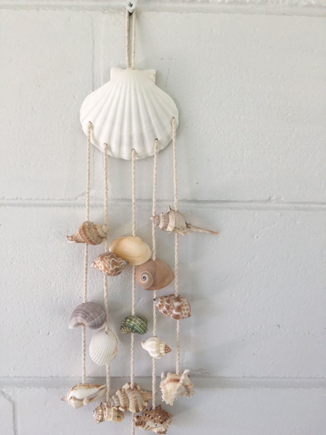 Summer Sale Sea Shell Hanging Wind Chime Sea Shells Wall Hanging Beach Decor Coastal 15 99 Usd Seashell Crafts Shell Crafts Diy Sea Shells Diy