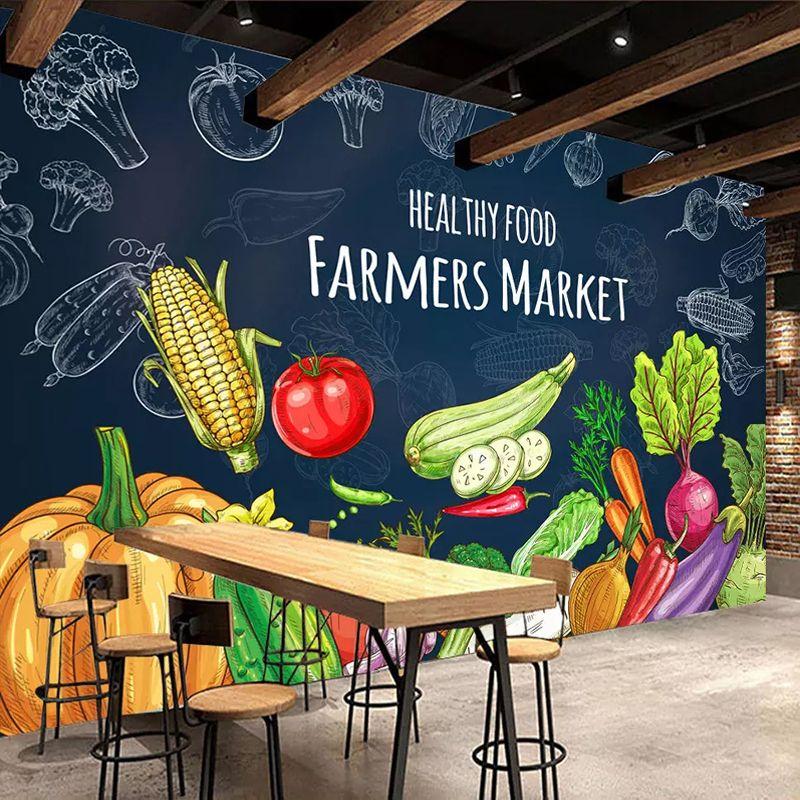 رخيصة مخصص 3d صور خلفيات الإبداعية اليد رسمت صحي الغذاء الفاكهة الخضروات جدارية سوبر ماركت الفاكهة متجر مطعم جدار ديكور カフェメニュー ボード スーパーマーケットのデザイン ファーマーズマーケット