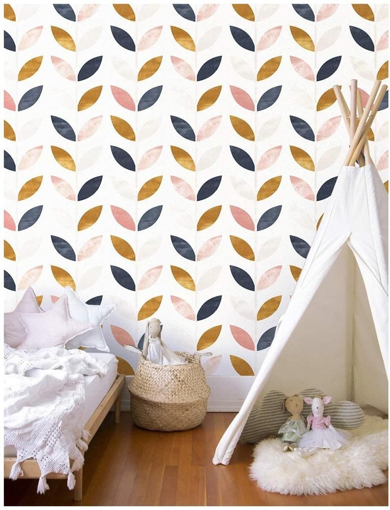 Modern Leaf Peel And Stick Wallpaper Removable Etsy In 2021 Peel And Stick Wallpaper Blue Vinyl Removable Wallpaper