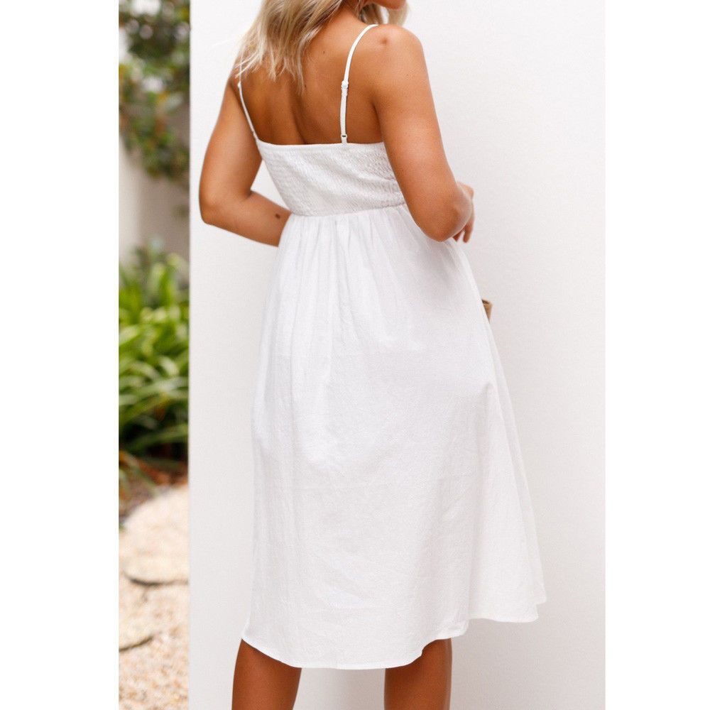 bfe475e17ca Hot Women Holiday Strappy Button Pocket Ladies Summer Beach Midi Swing Sun  Dress