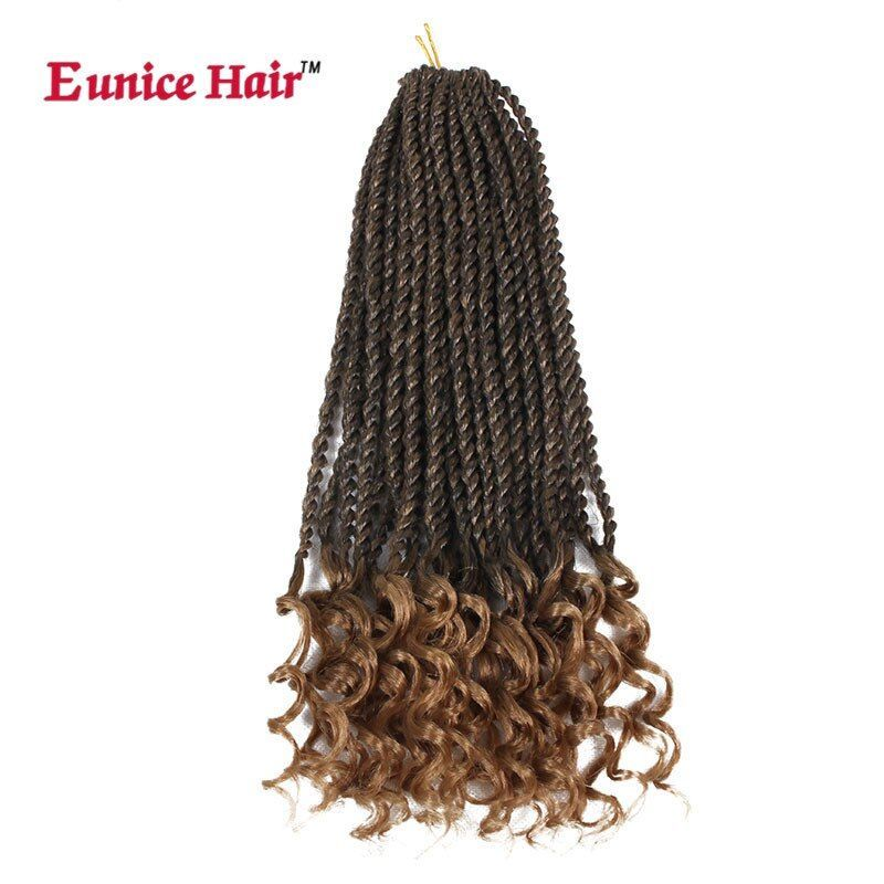 16 inch Eunice hair ombre brown Crochet Braiding Synthetic Pre-curled Crochet Hair Extensions Curly Senegalese Twist Braids Hair #crochetsenegalesetwist 16 inch Eunice hair ombre brown Crochet Braiding Synthetic Pre-curled Crochet Hair Extensions Curly Senegalese Twist Braids Hair #crochetsenegalesetwist