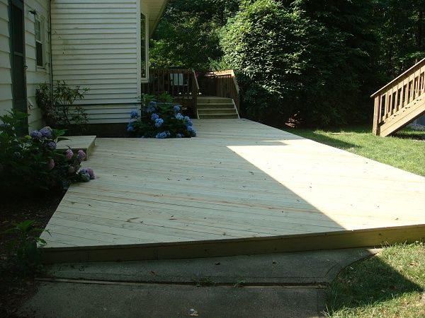 how to build a floating deck over a concrete slab