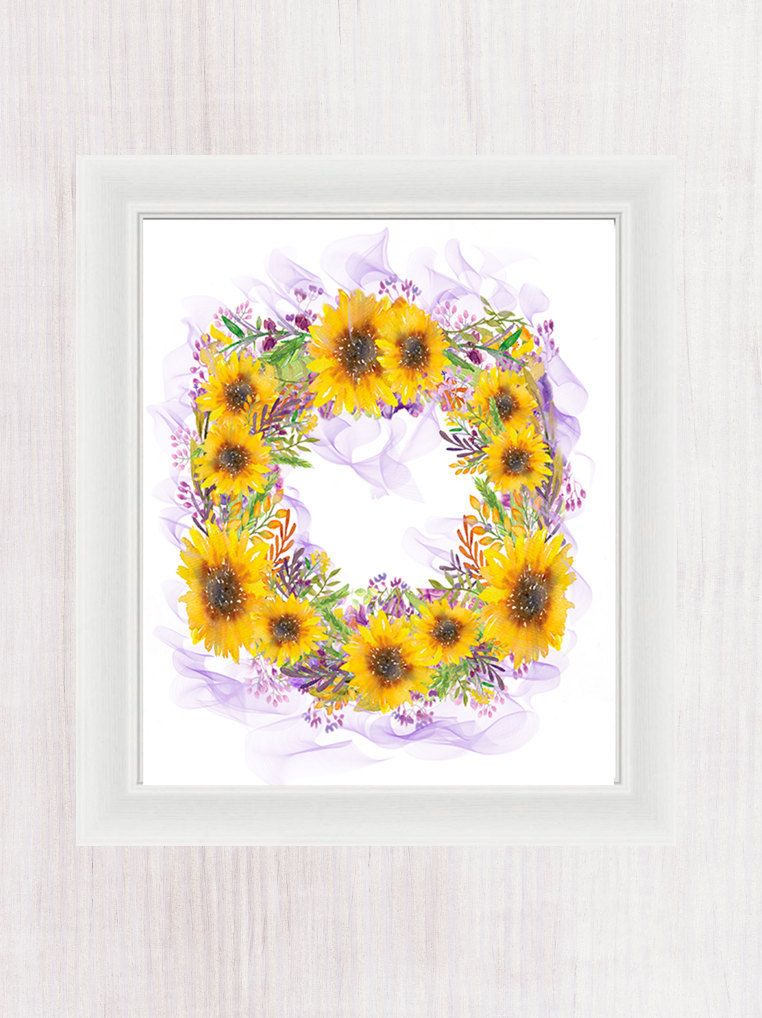 Watercolor Sunflower Wreath Initials Name Personalized Custom ...