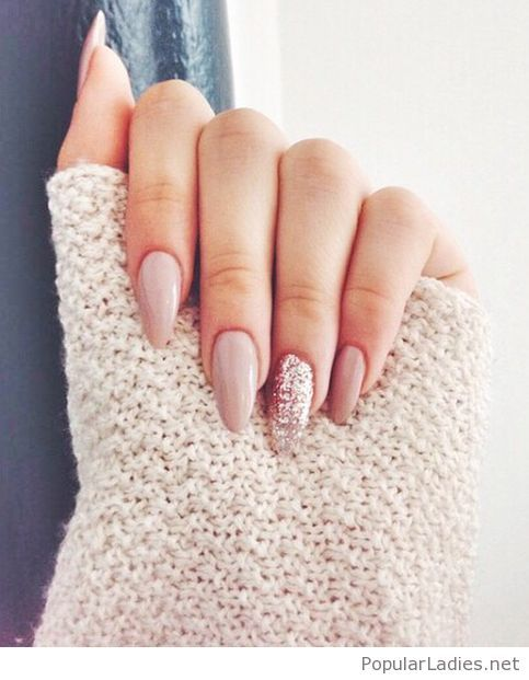 Long Nude Nails With Glitter More