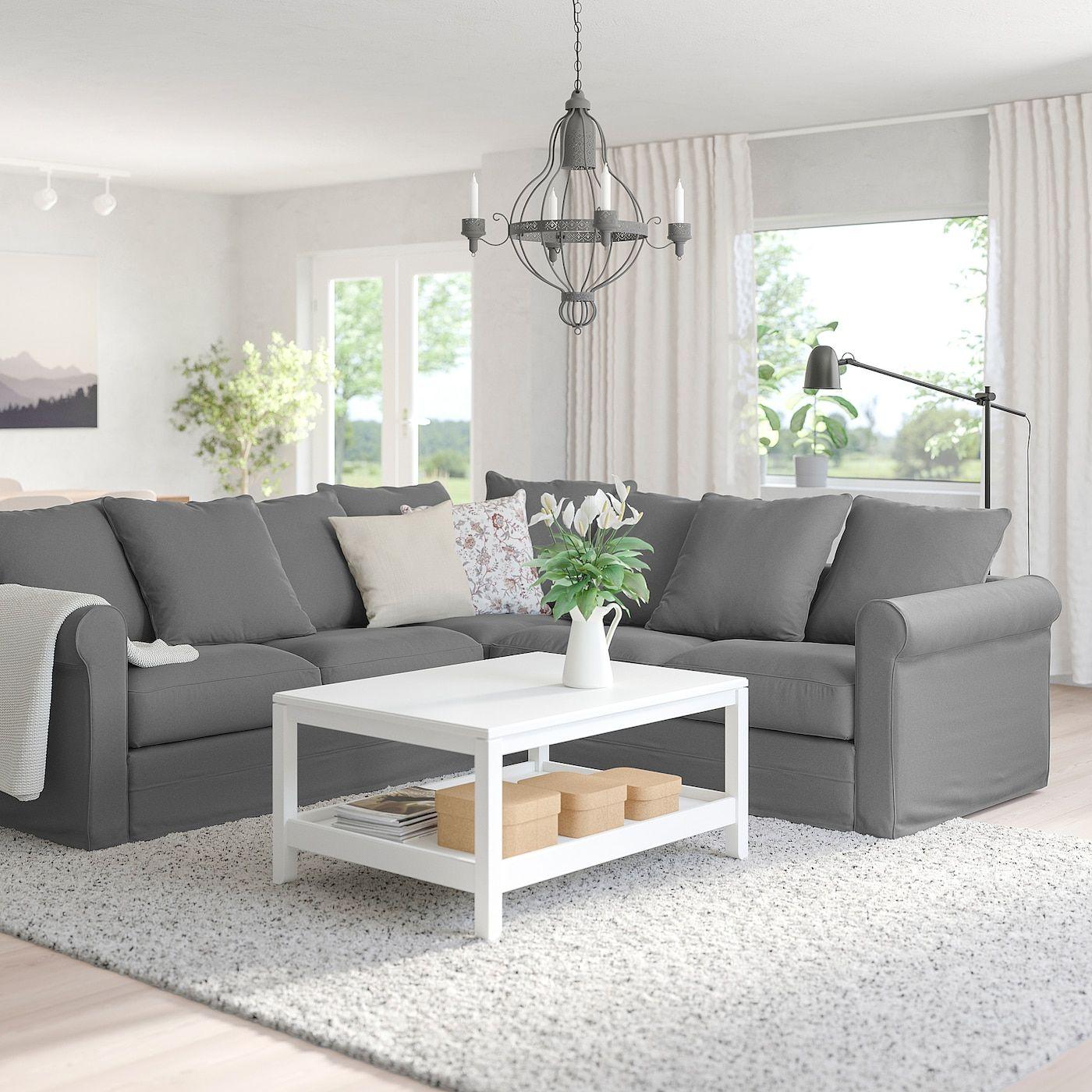 Ikea Gr Ouml Nlid Ecksofa 4 Sitzig Ljungen Mittelgrau In 2020 Ecksofa Recamiere Sofa
