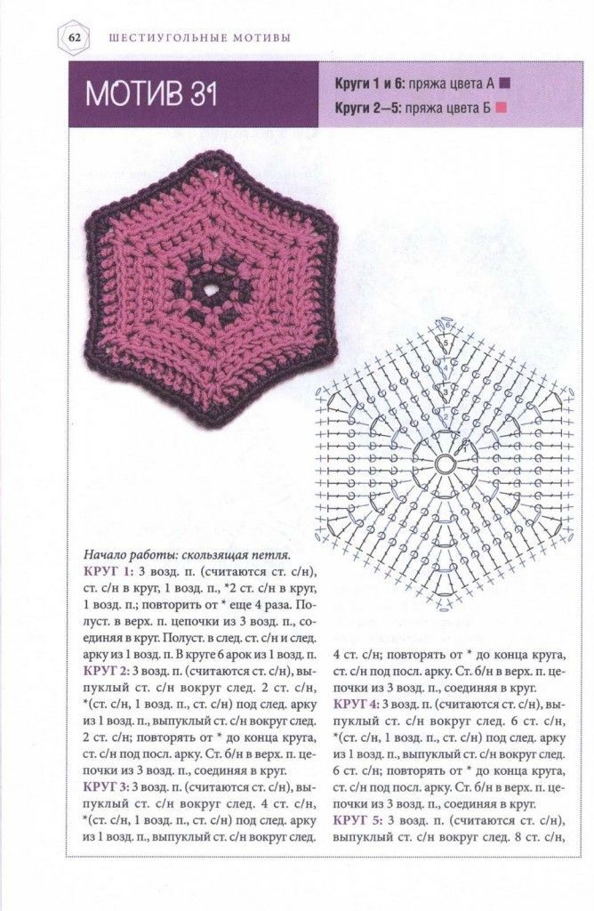 Hexagonal Crochet Motif Pattern | MOTİF 23 | Pinterest | Ganchillo