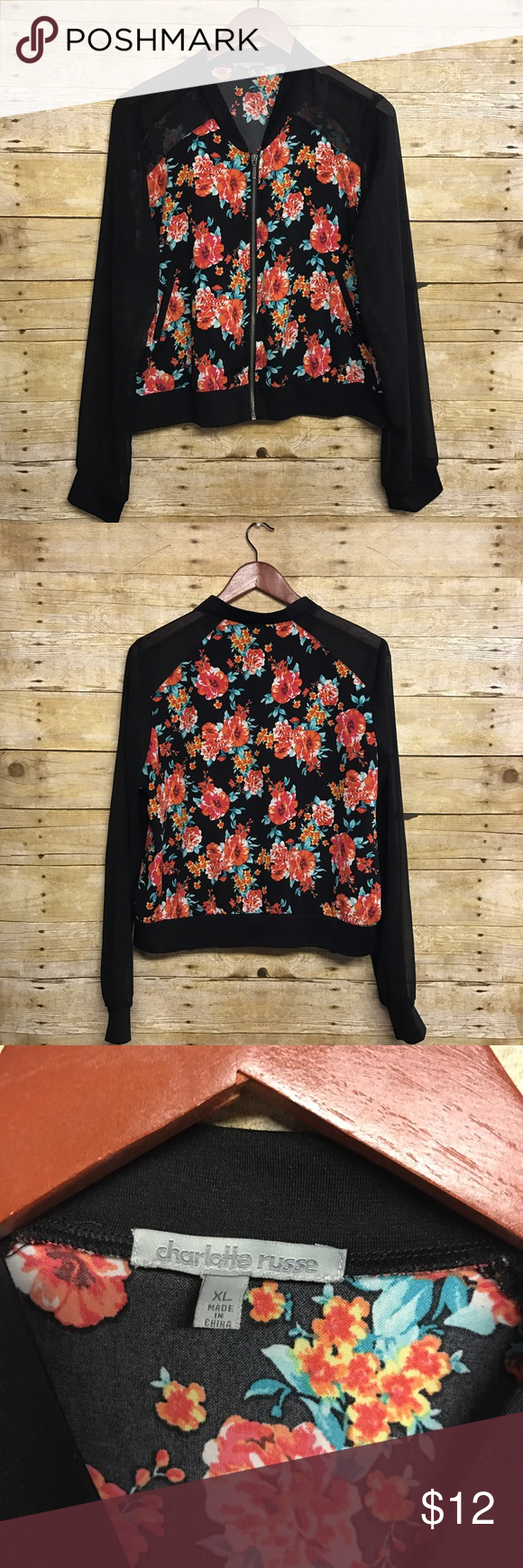 Floral sheer bomber/varsity jacket XL Super cute Charlotte Russe bomber/varsity style jacket with sheer sleeves and Floral pattern. Size XL but fits more like a large. Charlotte Russe Jackets & Coats
