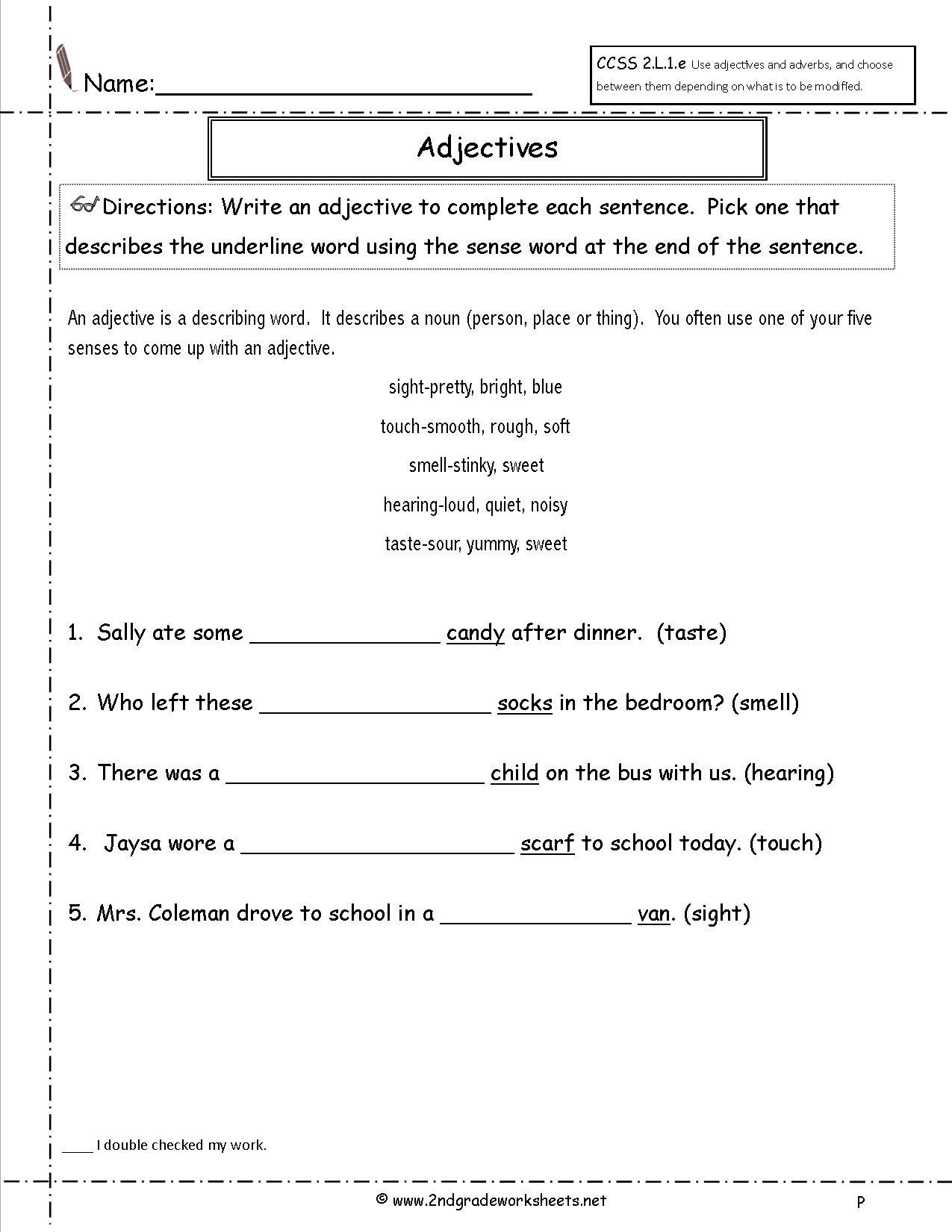 6 Adjectives Worksheets For Grade 2 In