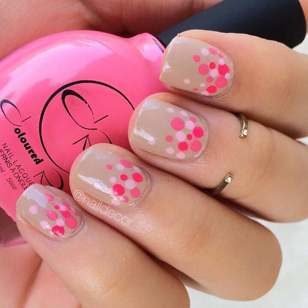 Nude and Polka Dot Nail Design for Short Nails