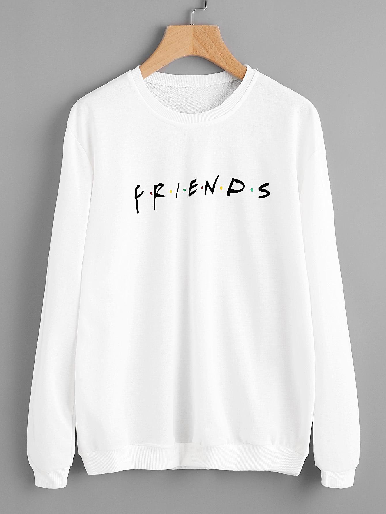 SheIn - SheIn Letter Print Sweatshirt - AdoreWe.com  b1e712630