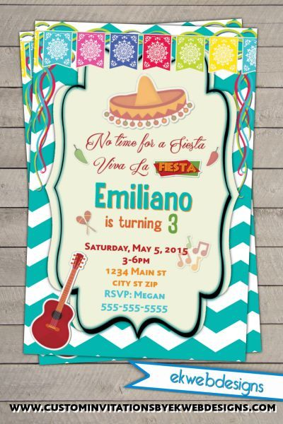 Fiesta Themed Party Invitations Mexican Invite Invitation