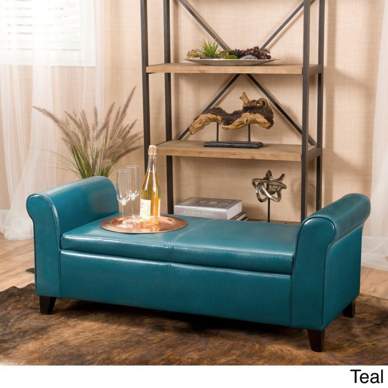 Leather Teal Storage Ottoman Home Armed Bench Bed Room Living Seating  Furniture | EBay