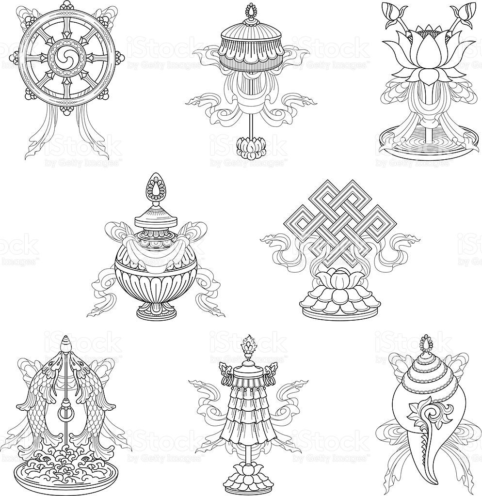 Vector drawing of the eight auspicious buddhist symbols also vector drawing of the eight auspicious buddhist symbols also called biocorpaavc