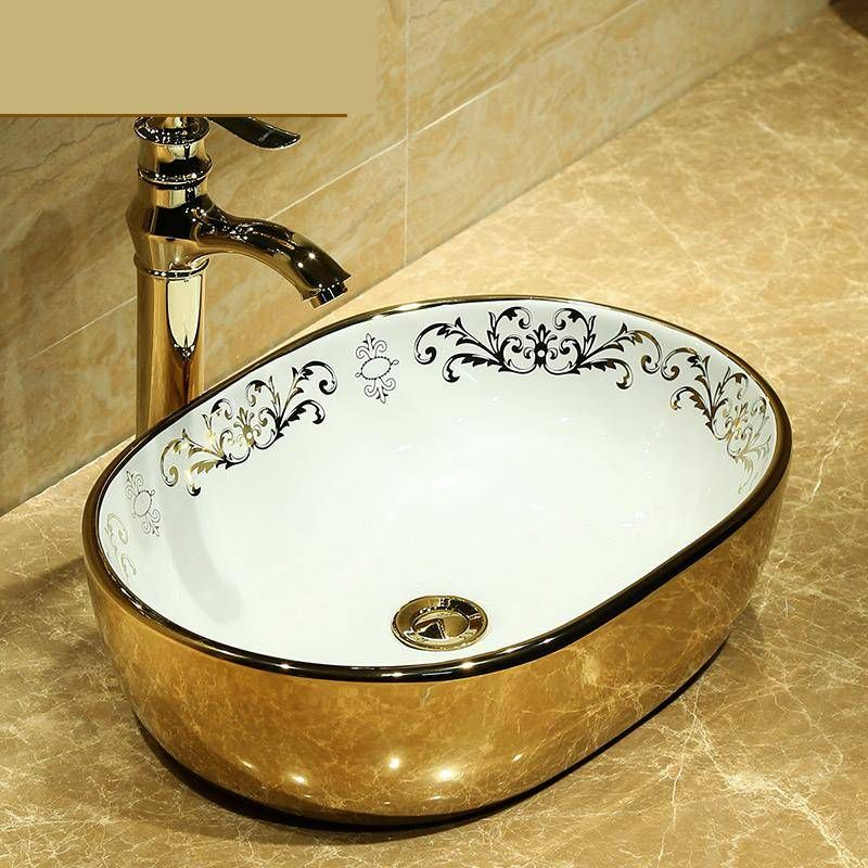 Oval Painting Gold Ceramic Painting Art Lavabo Bathroom Vessel Sinks Round Counter Top Bathroom Sink Ceramic Wash Basin In 2020 Vessel Sink Bathroom Gold Ceramic Vessel Sinks