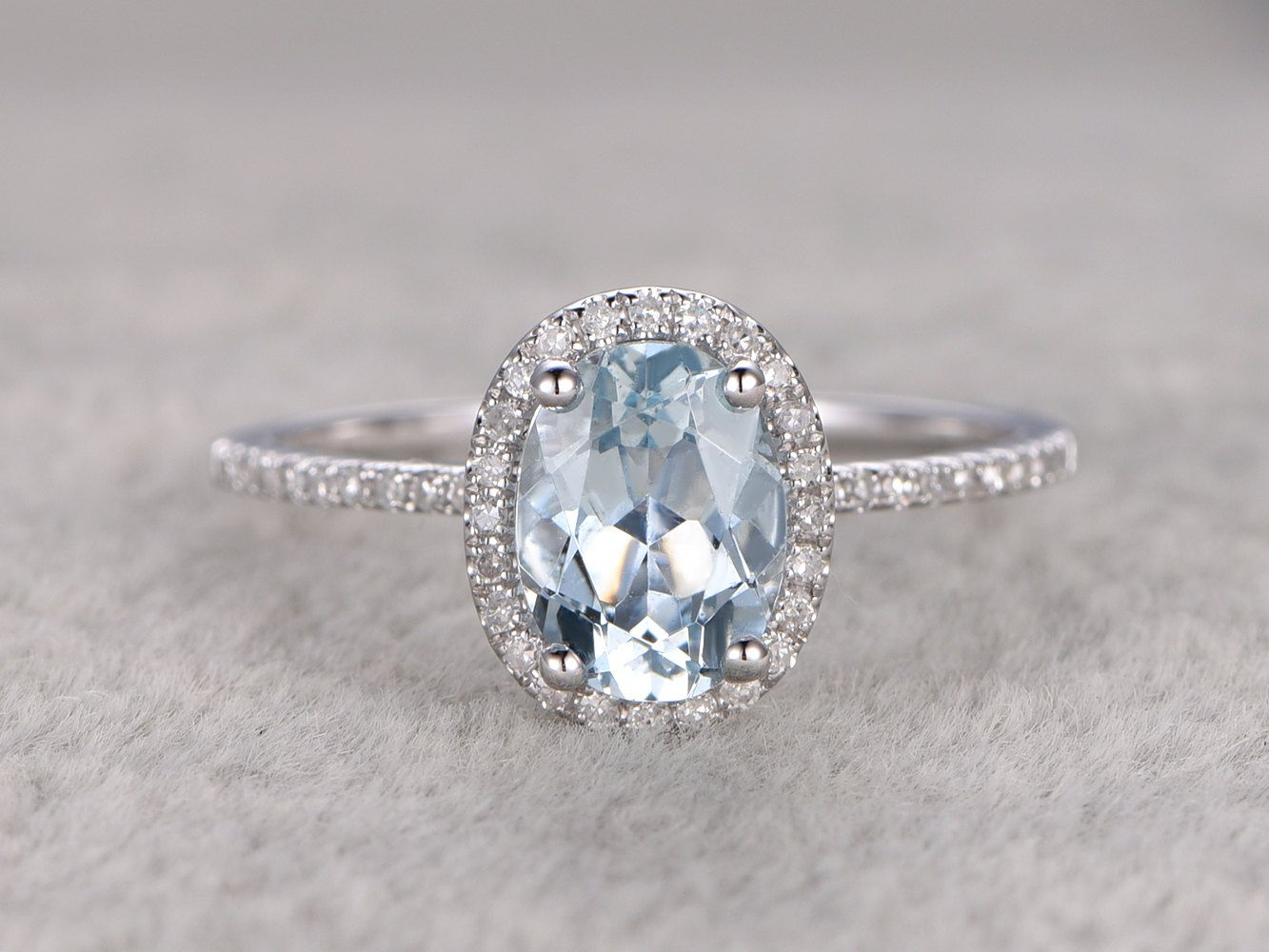 Engagement & Wedding Solid 14k Yellow Gold Genuine Natural Sparkly Aquamarine Engagement Diamond Ring