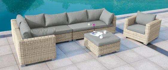 Loungeset MARMARIS Aus Polyrattan Naturfarben #LoungeGartenmöbel # Gartenmöbel #IdeeGartenmöbel