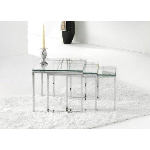 Set de 3 mesas auxiliares de cristal benetto arq - Mesitas auxiliares de cristal ...