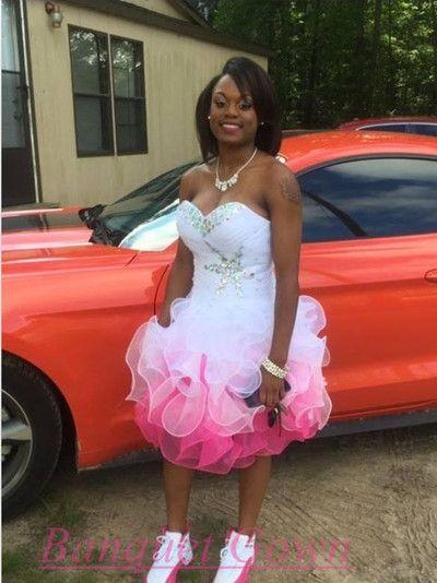 2c7fe4617d6 2016 Short Prom Dresses Sweetheart Neckline Ruffles Skirt White Pink Homecoming  Dress