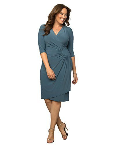 a1523e627288 Kiyonna Womens Plus Size Ciara Cinch Dress 2X Misty Blue    Click on the  image for additional details. (This is an affiliate link)  WomensDresses