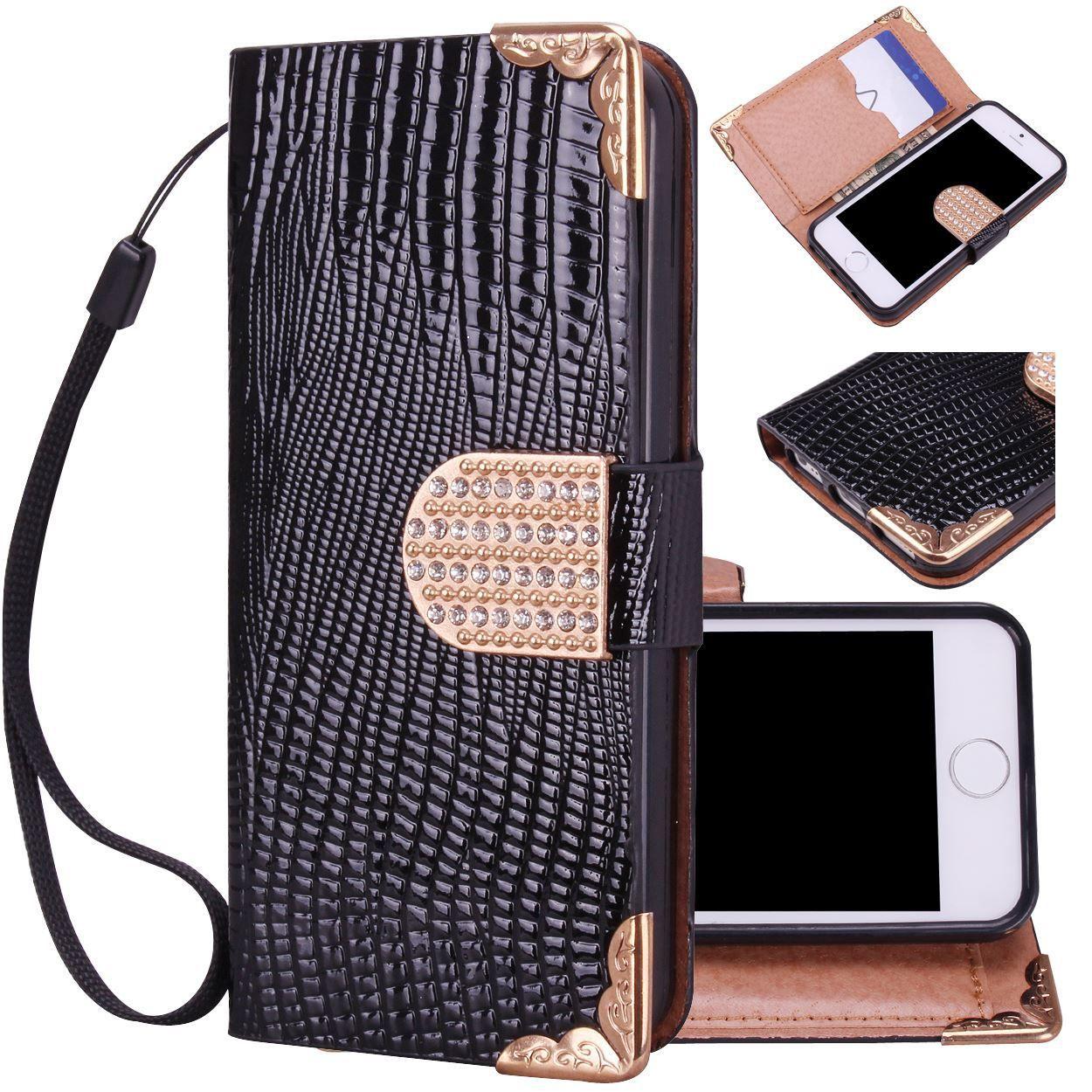 Deluxe Bling Fancy Wristlet Wallet Case for iPhone 5/s