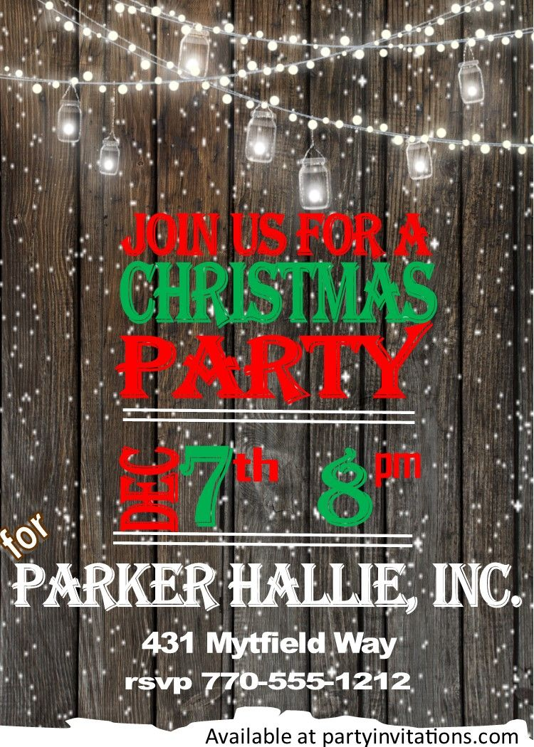 Fence and Snow Christmas Party Invitations | Christmas party ...