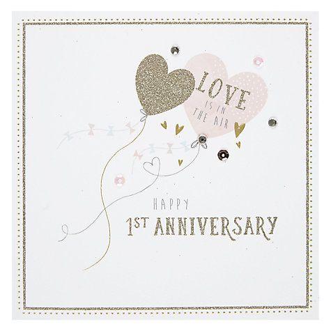 Hotchpotch Balloon 1st Anniversary Card 1st Anniversary Cards Anniversary Cards 1st Anniversary
