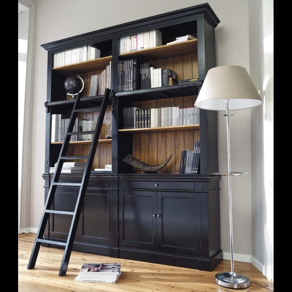 biblioth que avec chelle en pin massif noir meuble biblioth que chelles et meubles. Black Bedroom Furniture Sets. Home Design Ideas