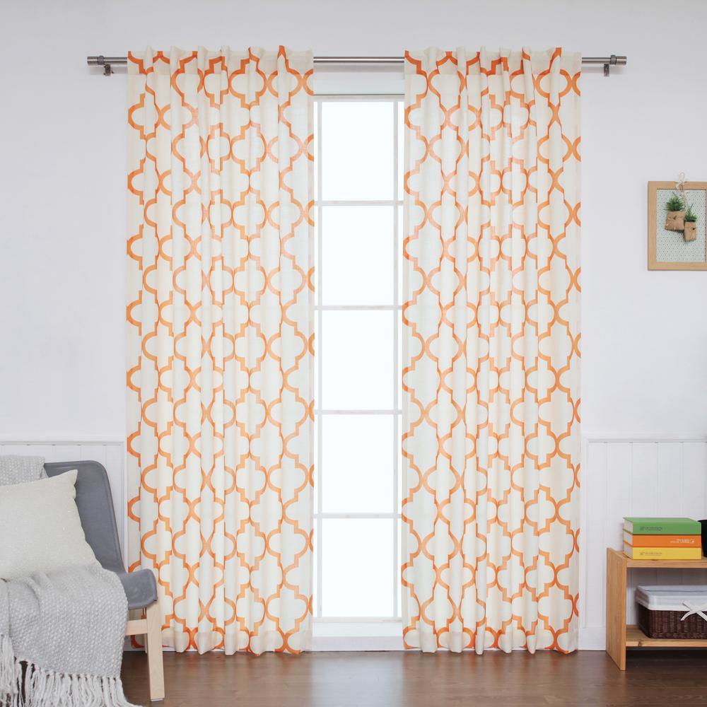Best home fashion in l orange faux linen reverse moroccan