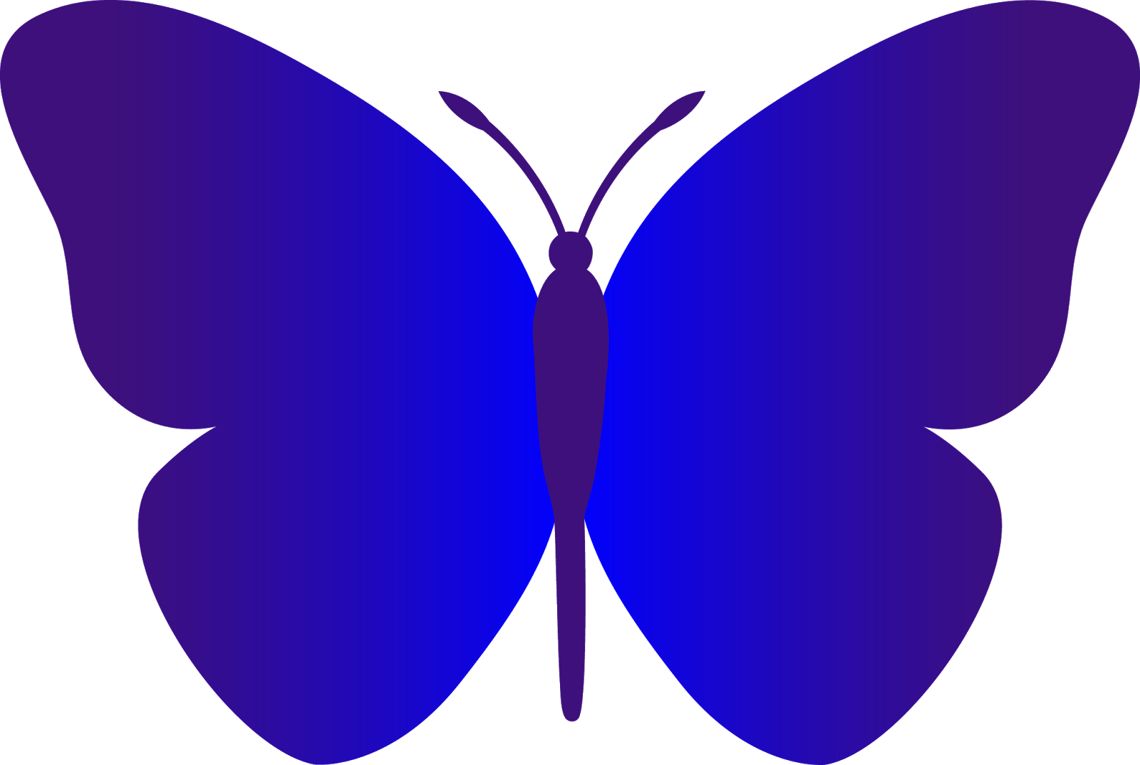 Butterfly outline simple. Black and white blue