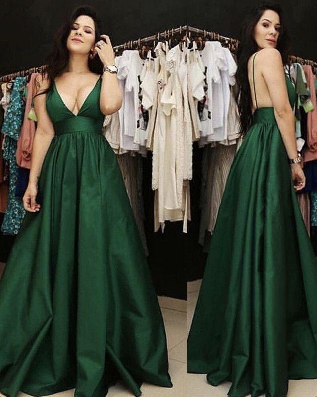 Simple Wedding Dress For Godmother: Plunge V-neck Floor Length Satin Prom Dresses In 2019