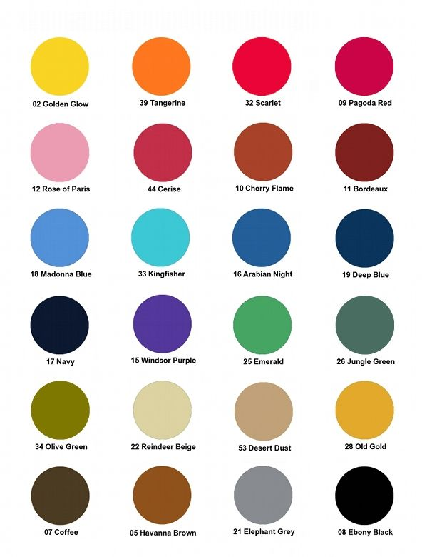 Dylon Multi Purpose Dye Colour Chart