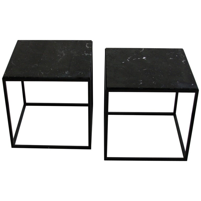 Pair Of Side Tables With Black Marble Top Marble Top Side Table Black Marble
